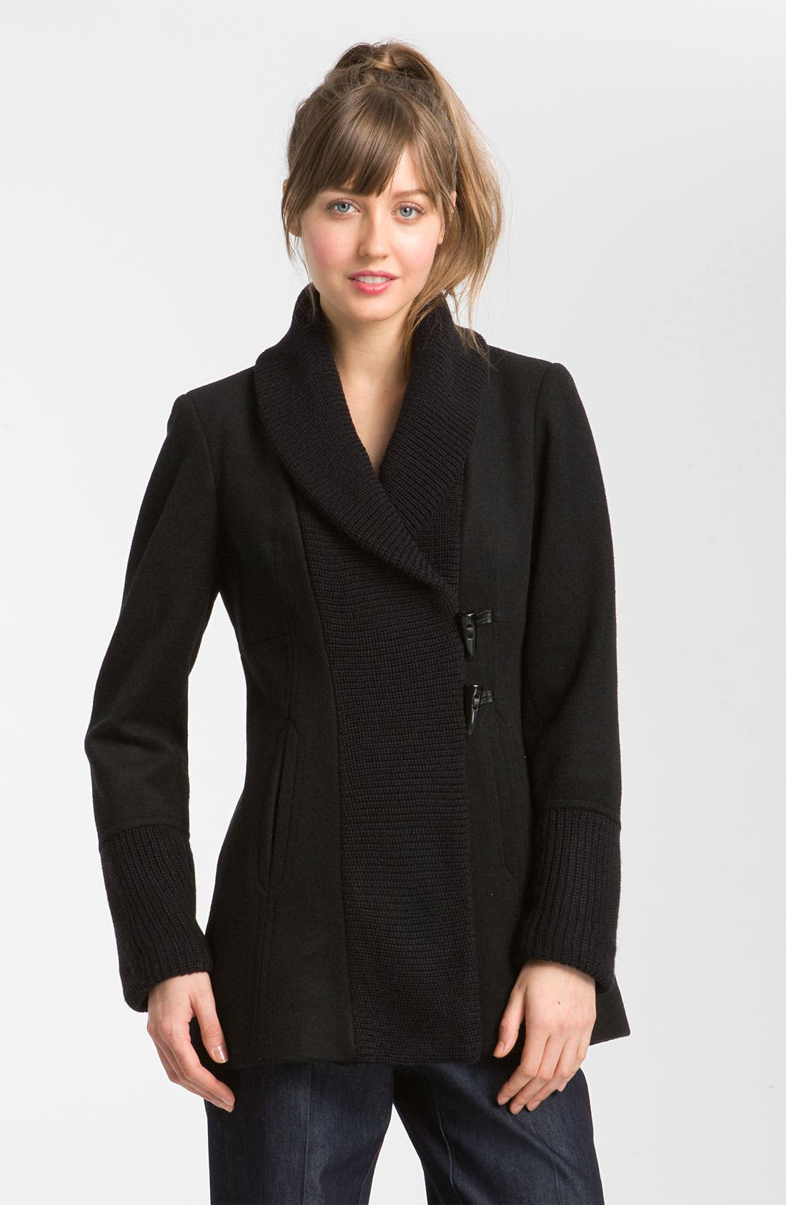 Alternate Image 1 Selected - Vince Camuto Knit Collar Toggle Coat