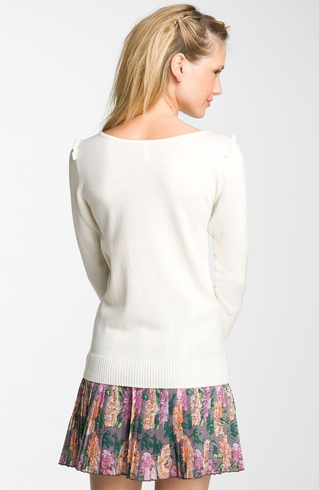 Alternate Image 2  - Frenchi® Bow Sweater (Juniors)