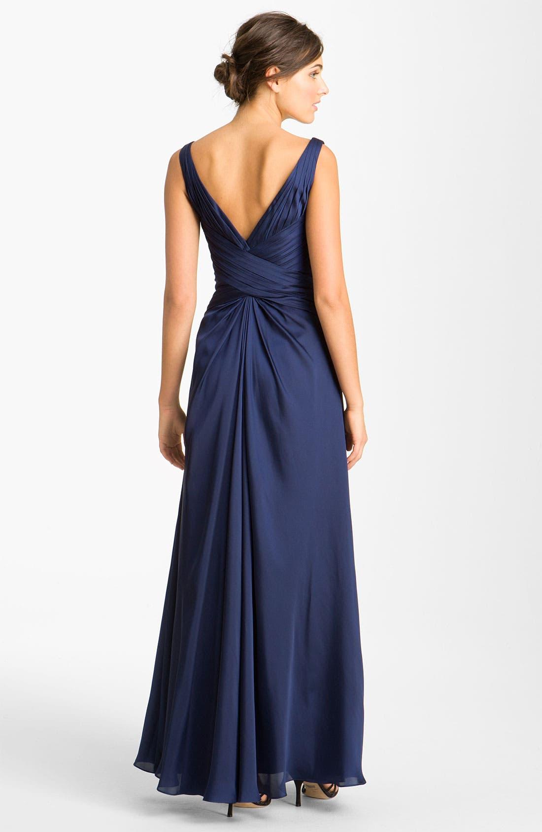 Alternate Image 2  - ML Monique Lhuillier Bridesmaids V-Neck Charmeuse Gown (Nordstrom Exclusive)