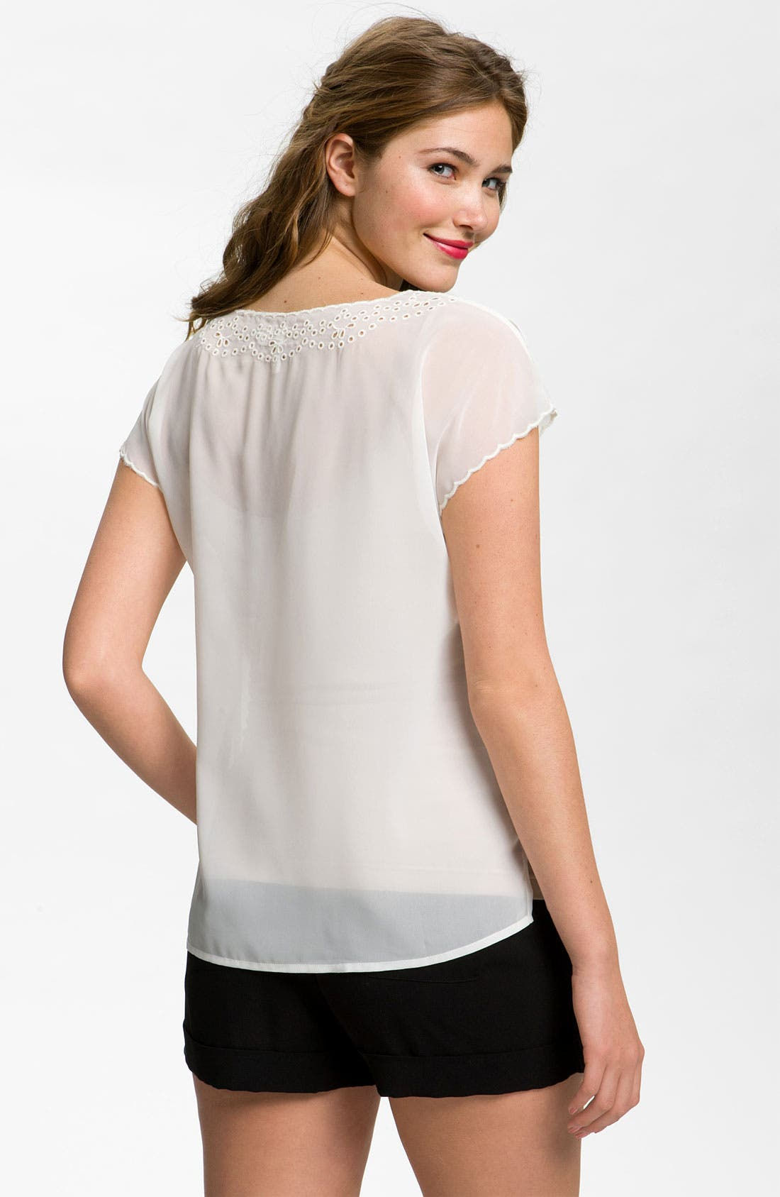 Alternate Image 2  - Frenchi® Eyelet Top (Juniors)