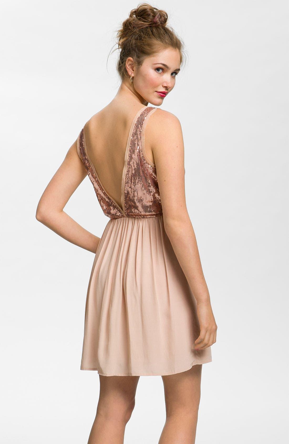 Alternate Image 2  - Lush Sequin Bodice Party Dress (Juniors)