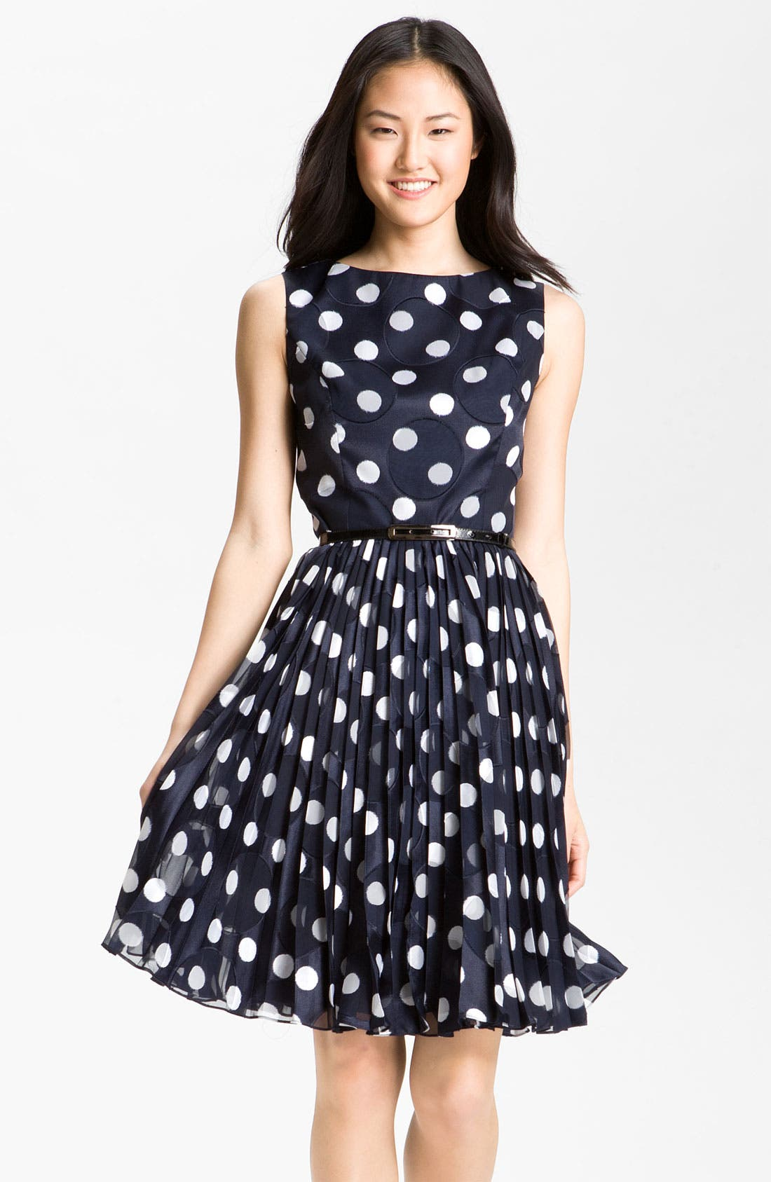 Main Image - Adrianna Papell Pleated Burn Out Dot Fit & Flare Dress