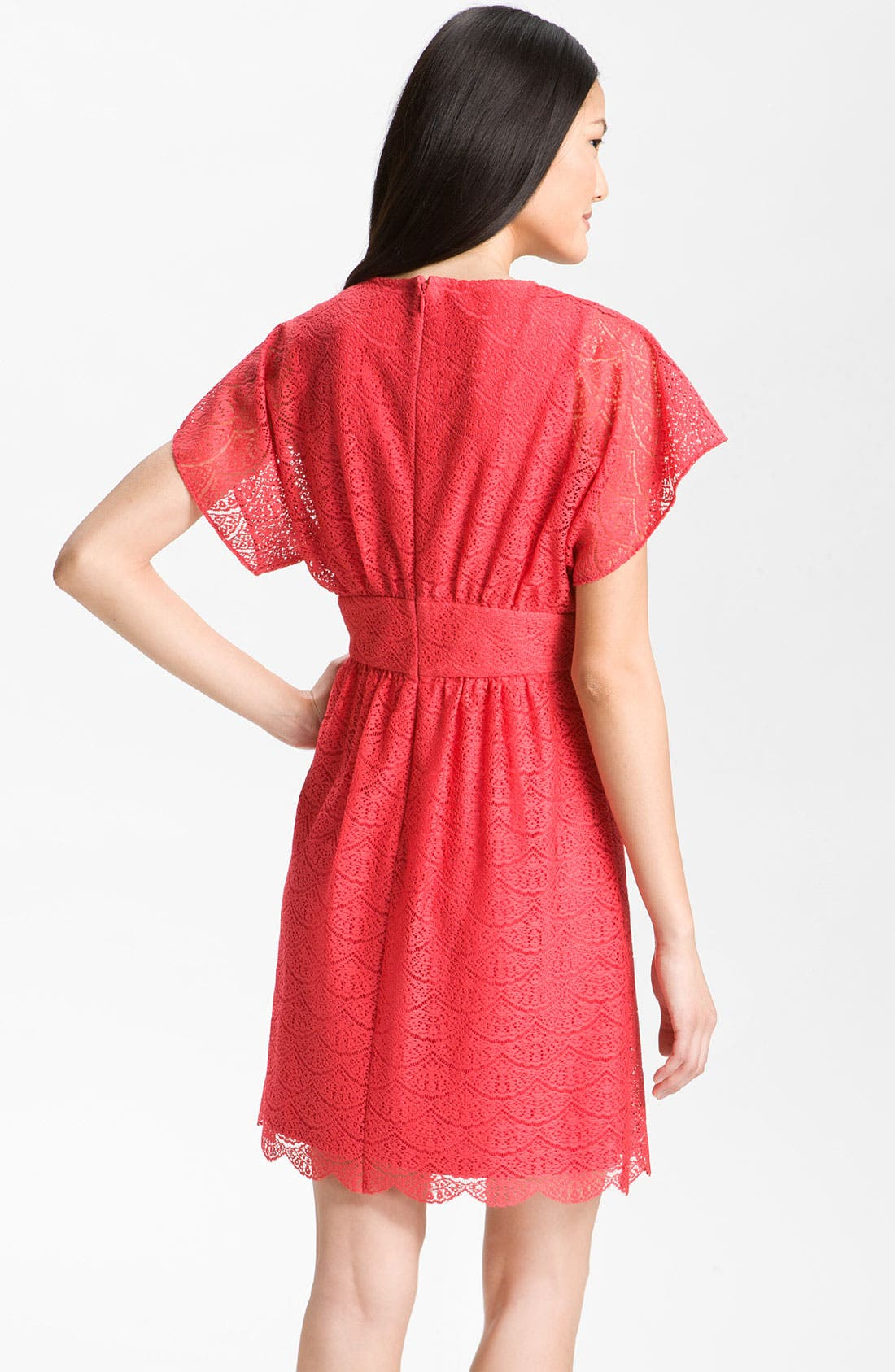 Alternate Image 2  - Adrianna Papell Dolman Sleeve Lace Overlay Dress