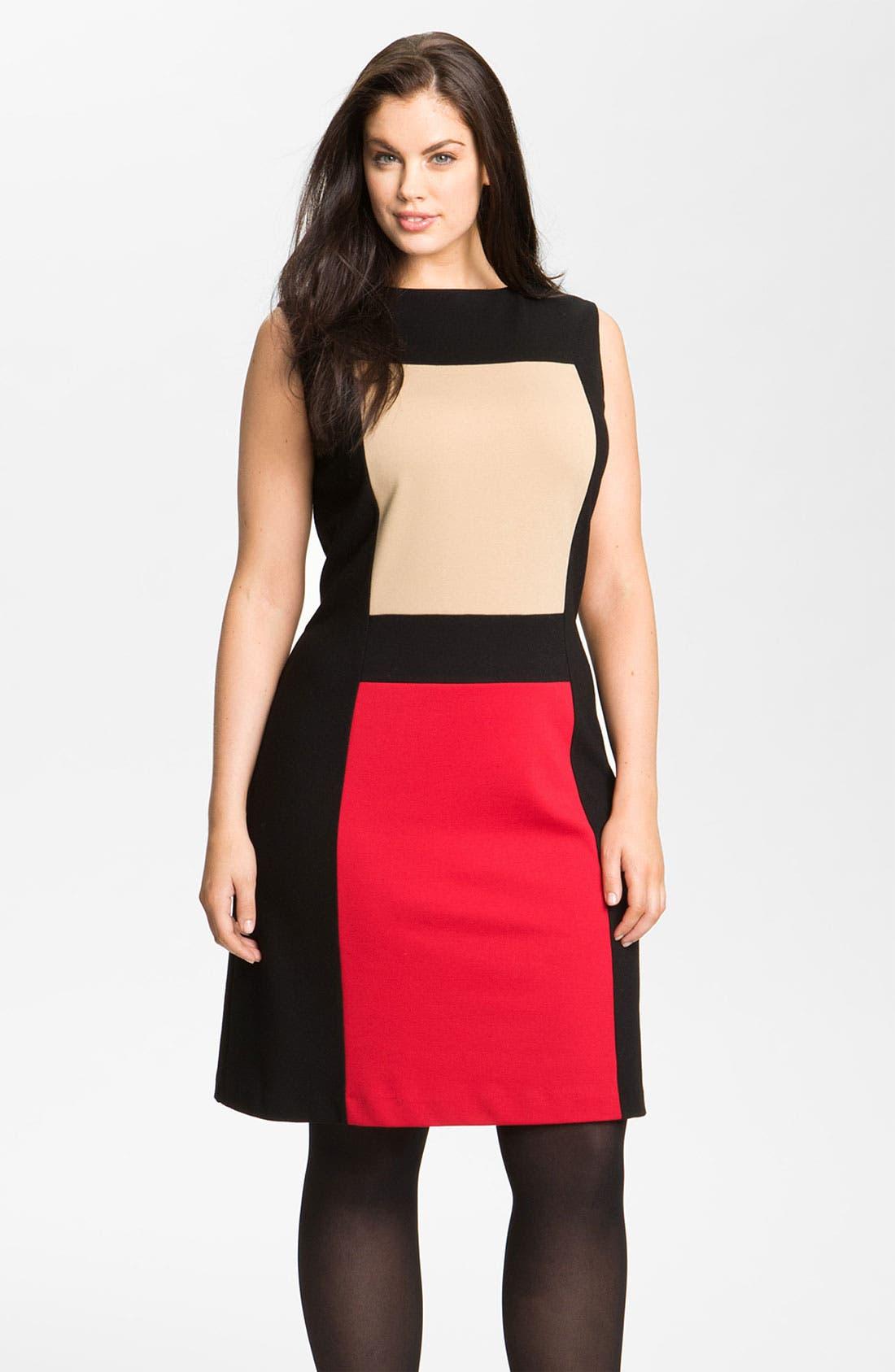 Main Image - Calvin Klein Colorblock Ponte Knit Sheath Dress (Plus)