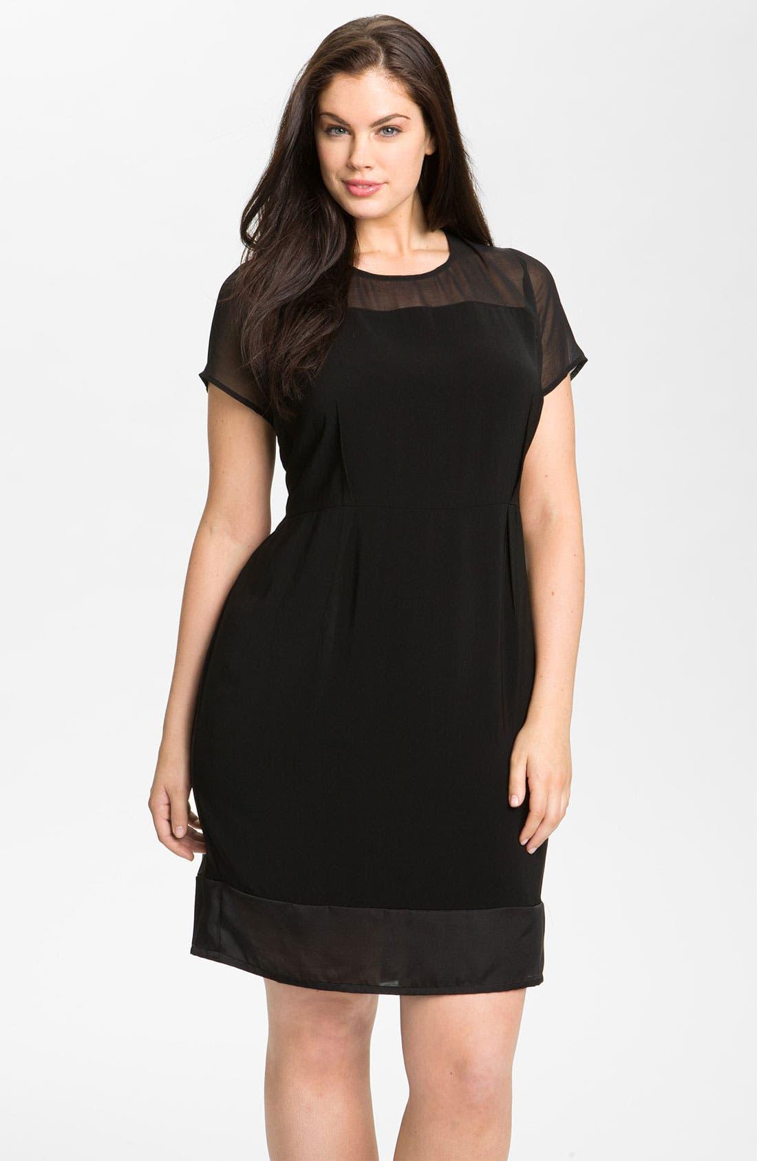 Alternate Image 1 Selected - DKNYC Georgette Trim Shift Dress (Plus)