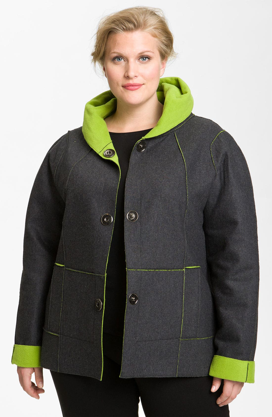 Alternate Image 1 Selected - Kristen Blake Reversible Bonded Fleece Jacket (Plus)