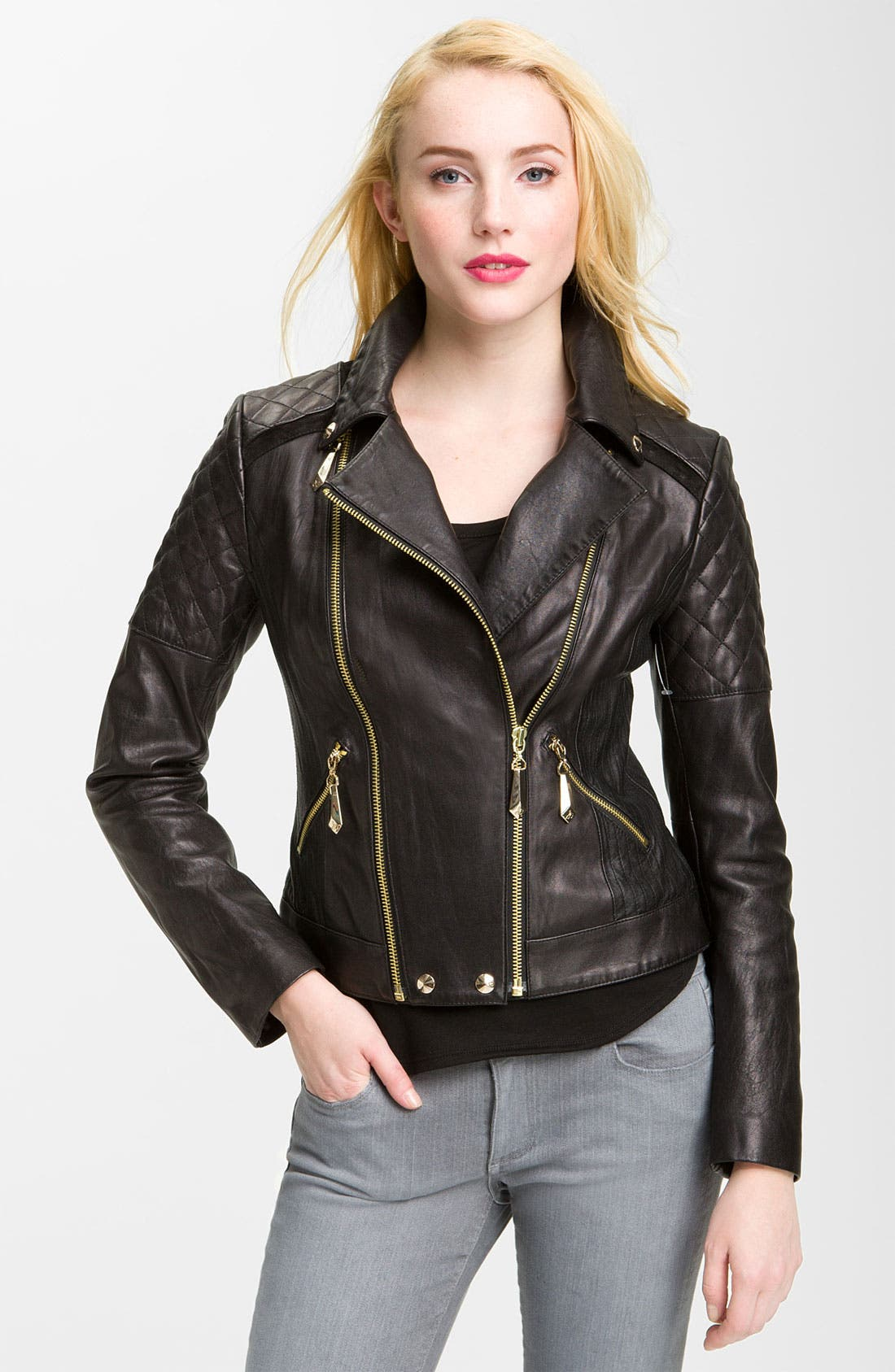 Alternate Image 1 Selected - Sam Edelman Quilted Leather Moto Jacket