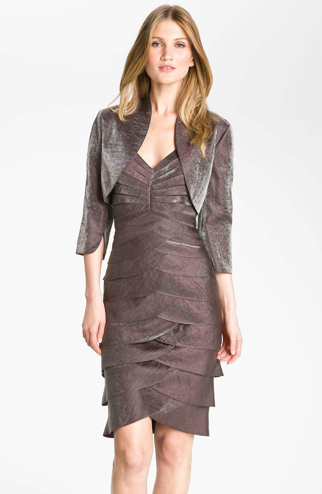 Alternate Image 1  - Adrianna Papell Tiered Hammered Satin Sheath Dress & Bolero (Regular & Petite)