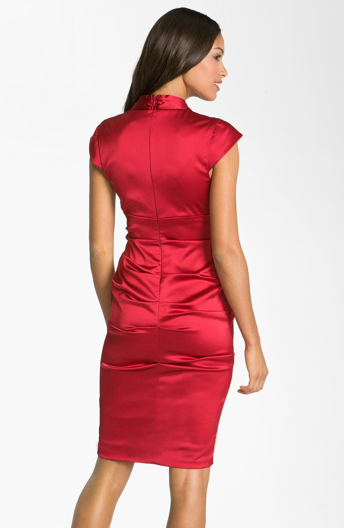 Alternate Image 2  - Xscape Pleated Stretch Satin Sheath Dress