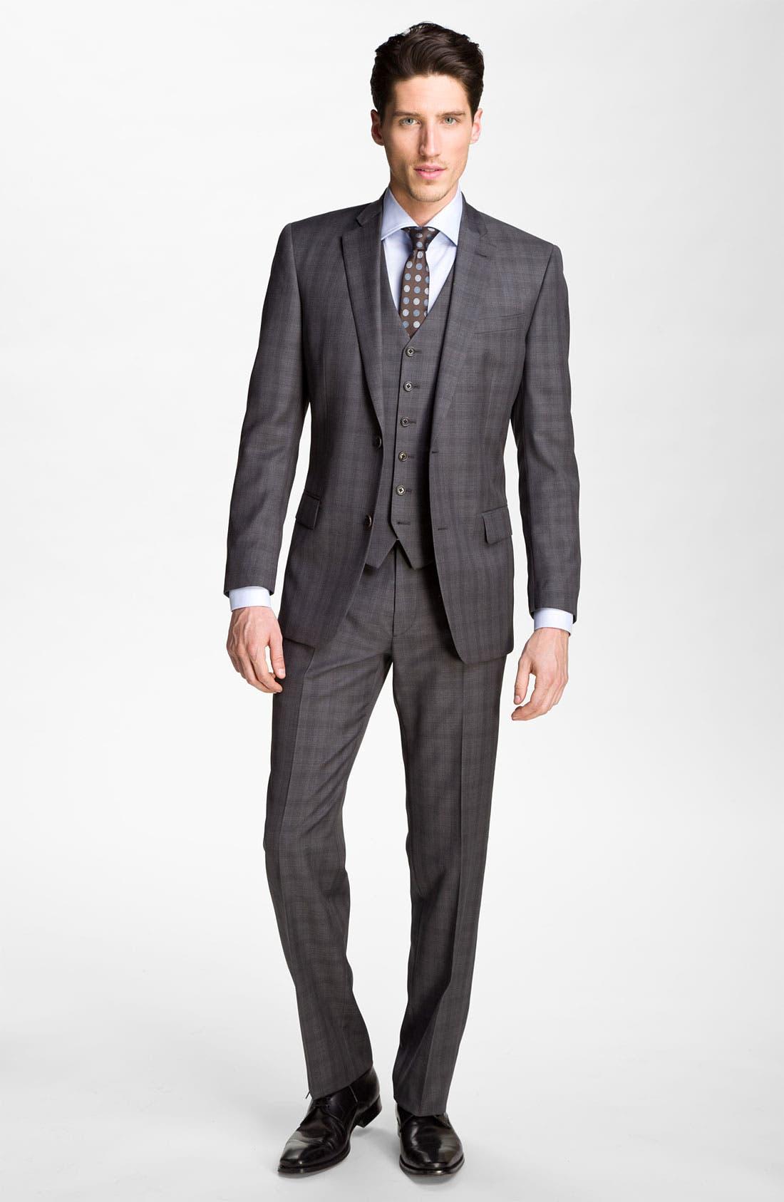 Alternate Image 2  - John Varvatos Star USA 'Chester' Plaid Three Piece Suit