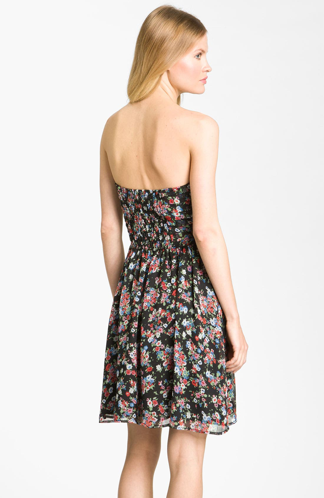Alternate Image 2  - Fynn & Rose Strapless Floral Dress