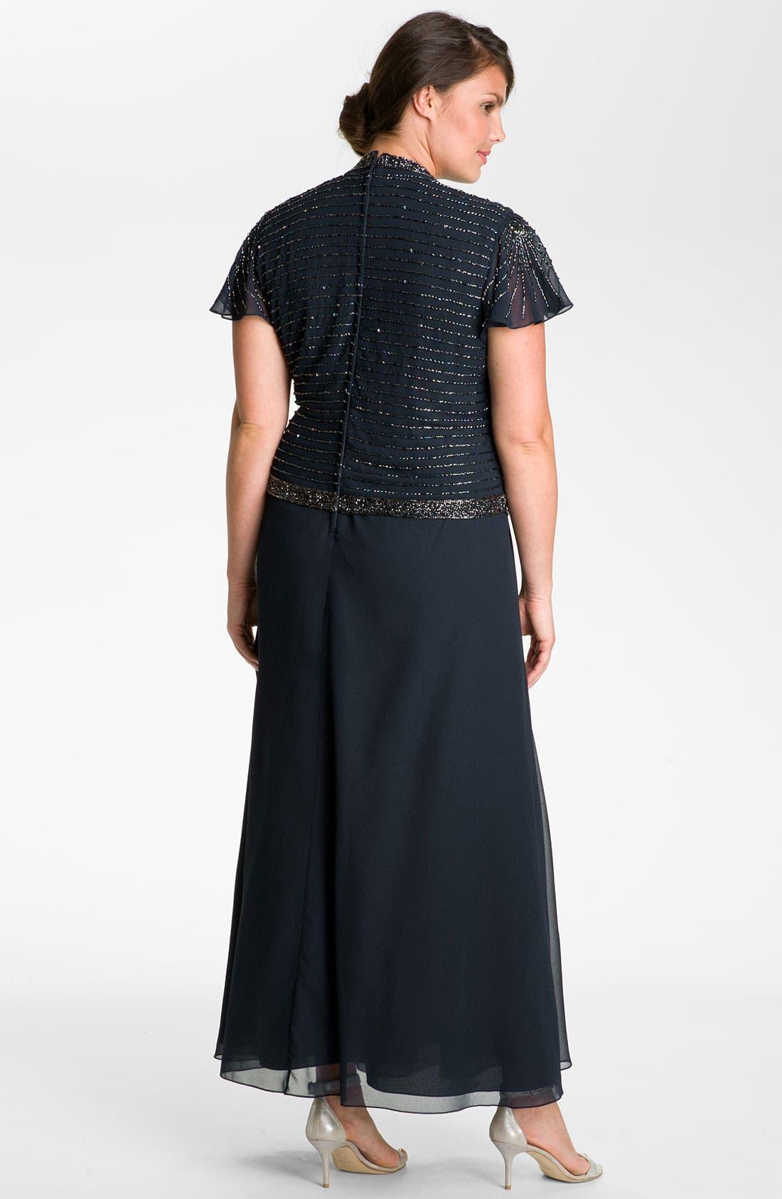 Alternate Image 2  - J Kara Beaded Mock Two-Piece Wrap Dress (Plus Size)