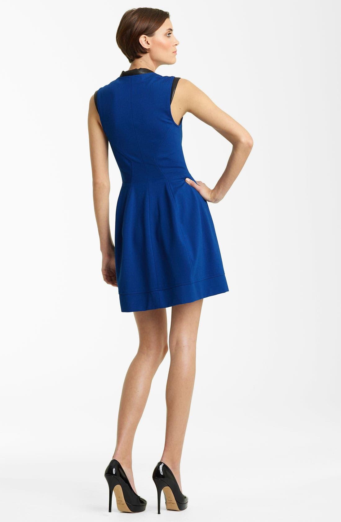 Alternate Image 2  - Yigal Azrouël Leather Trim Jersey Dress