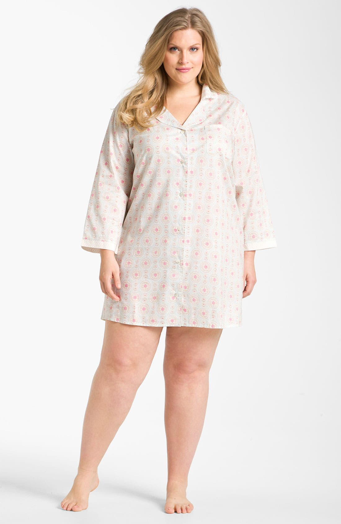 Alternate Image 1 Selected - Carole Hochman 'Wood Cut Floral' Nightshirt (Plus)