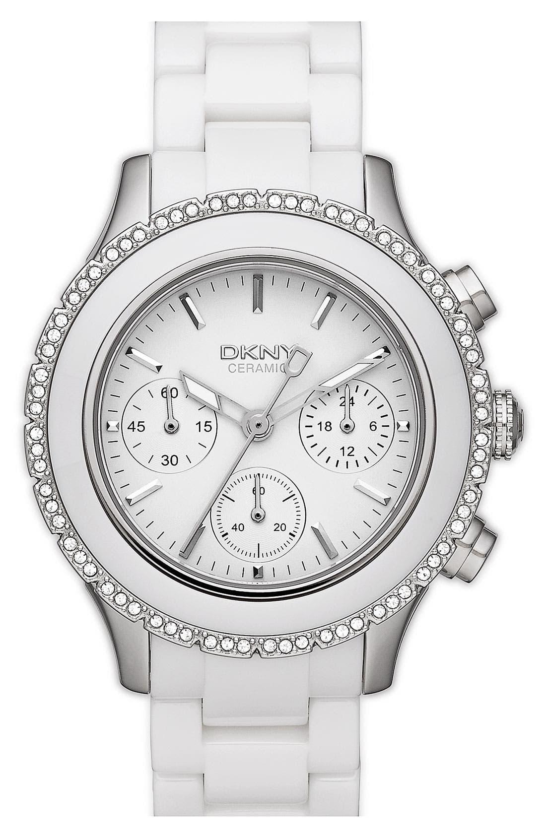 Alternate Image 1 Selected - DKNY 'Westside' Ceramic Bracelet Watch
