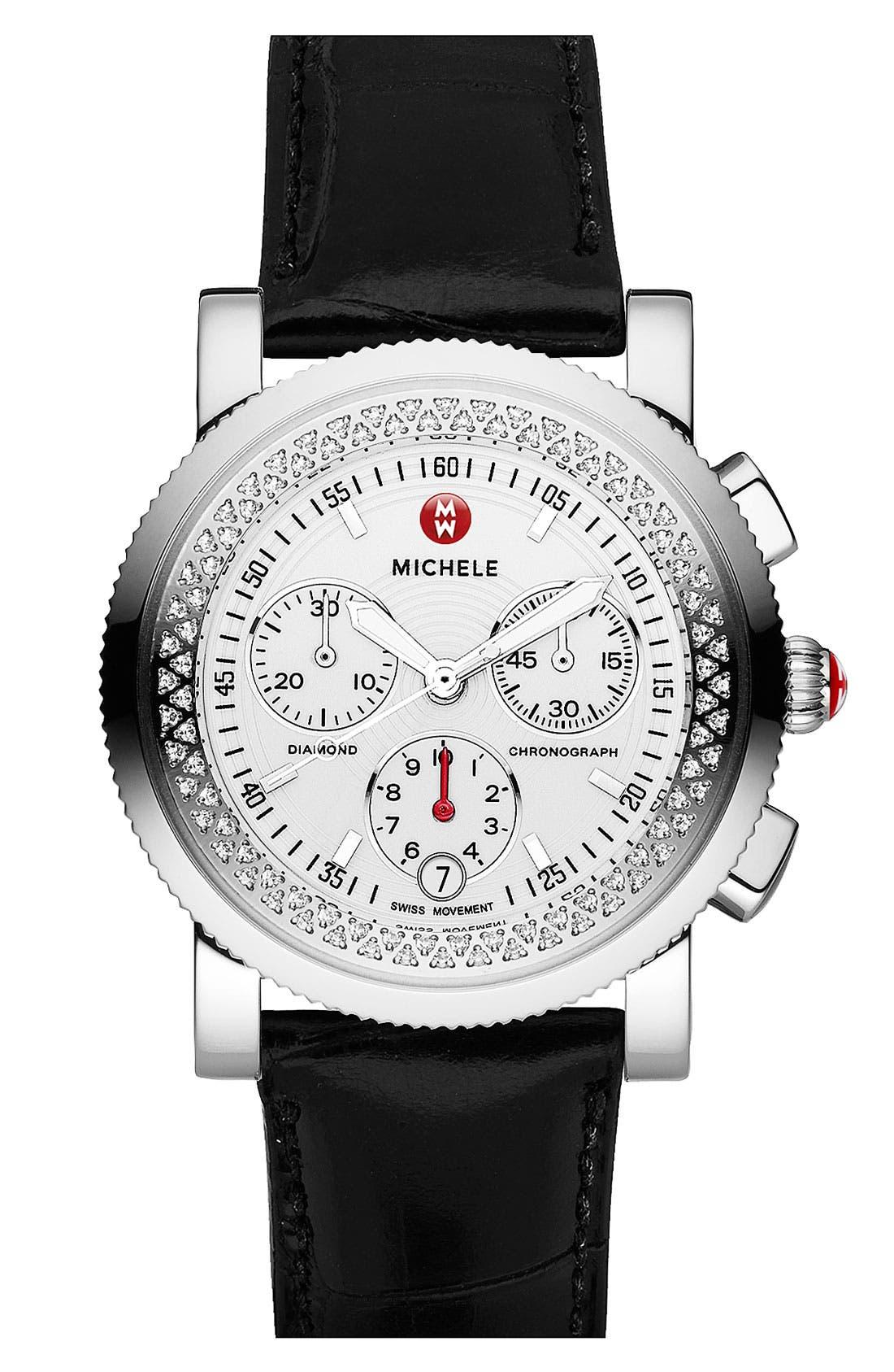 Alternate Image 2  - MICHELE 'Sport Sail' Diamond Watch Case & 20mm Black Alligator Strap