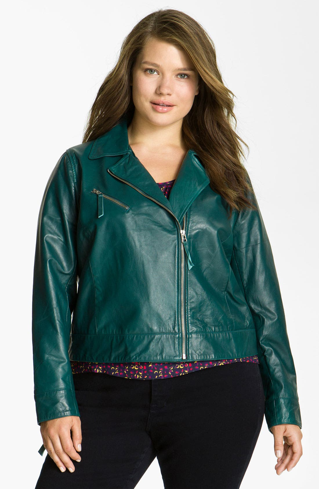 Main Image - John Carlisle Leather Moto Jacket (Plus)