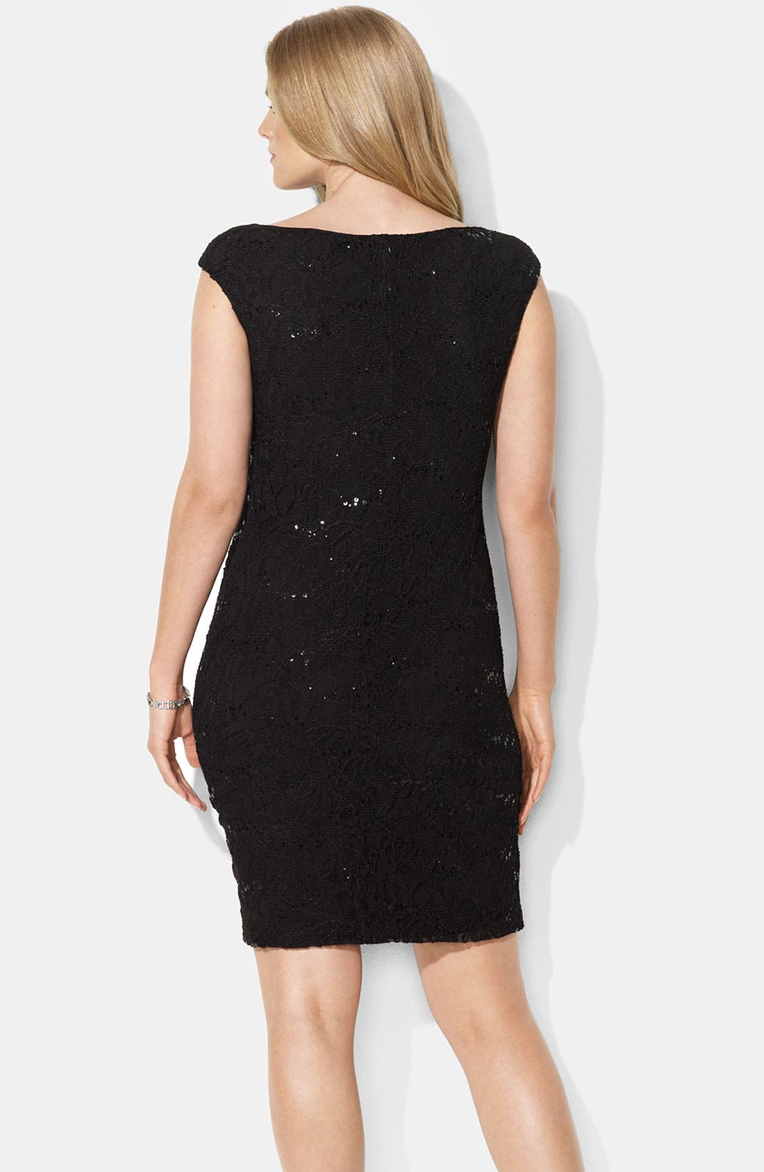 Alternate Image 2  - Lauren Ralph Lauren Stretch Lace Dress (Plus)