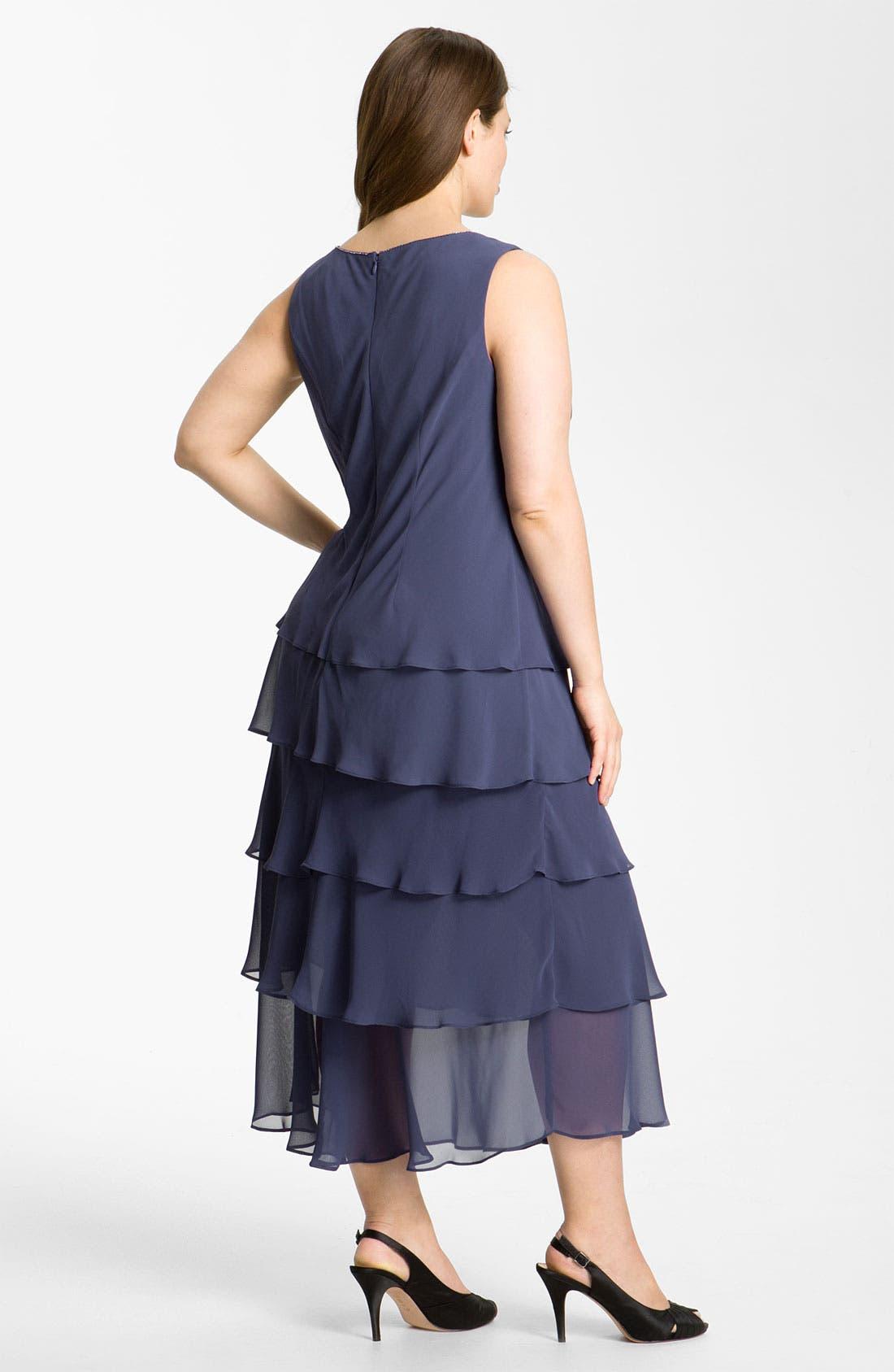 Alternate Image 2  - Alex Evenings Tiered Chiffon Dress & Jacket (Plus)