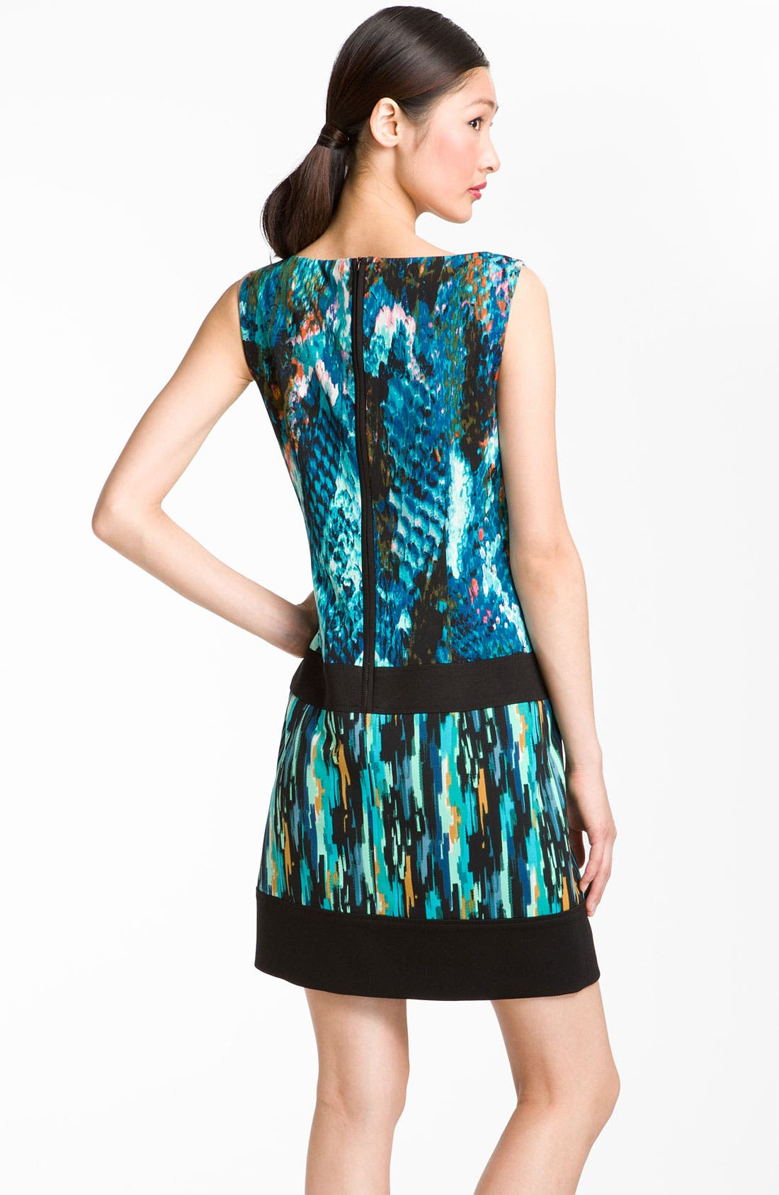 Alternate Image 2  - Laundry by Shelli Segal Mixed Print Boatneck Dress