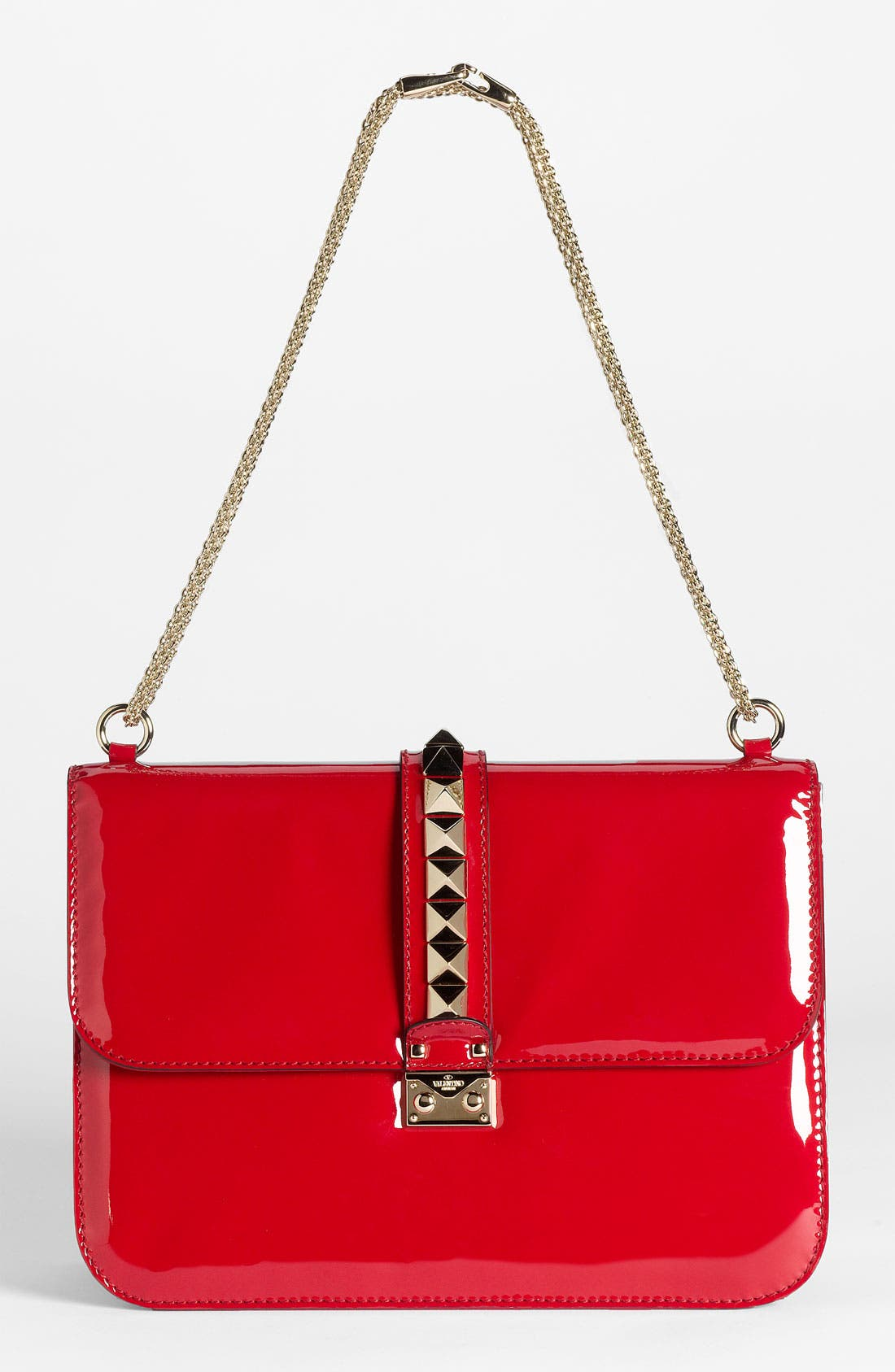 Alternate Image 1 Selected - Valentino 'Grande Lock' Patent Leather Shoulder Bag