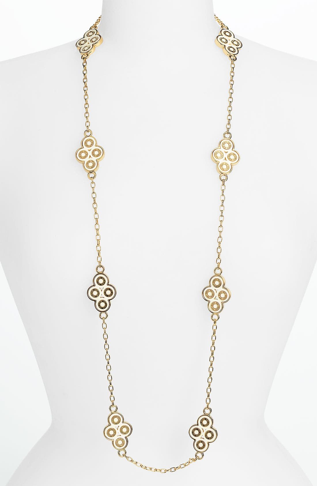Main Image - Tory Burch 'Cole' Enamel Clover Necklace