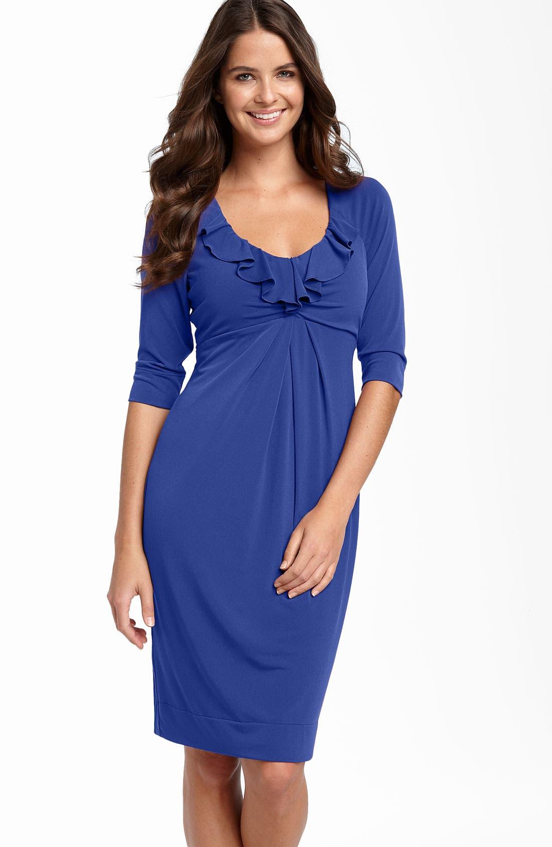 Main Image - Donna Ricco Ruffle Matte Jersey Dress