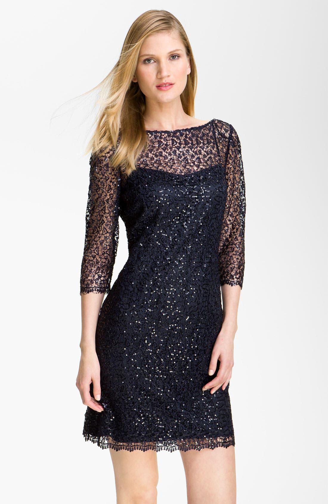 Main Image - Kay Unger Sequin Lace Sheath Dress
