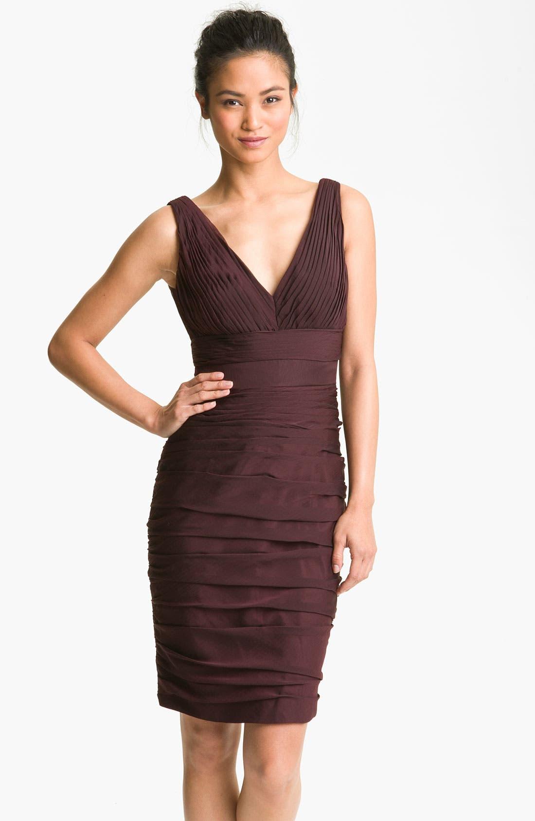 Main Image - ML Monique Lhuillier Bridesmaids V-Neck Ruched Chiffon Sheath Dress (Nordstrom Exclusive)