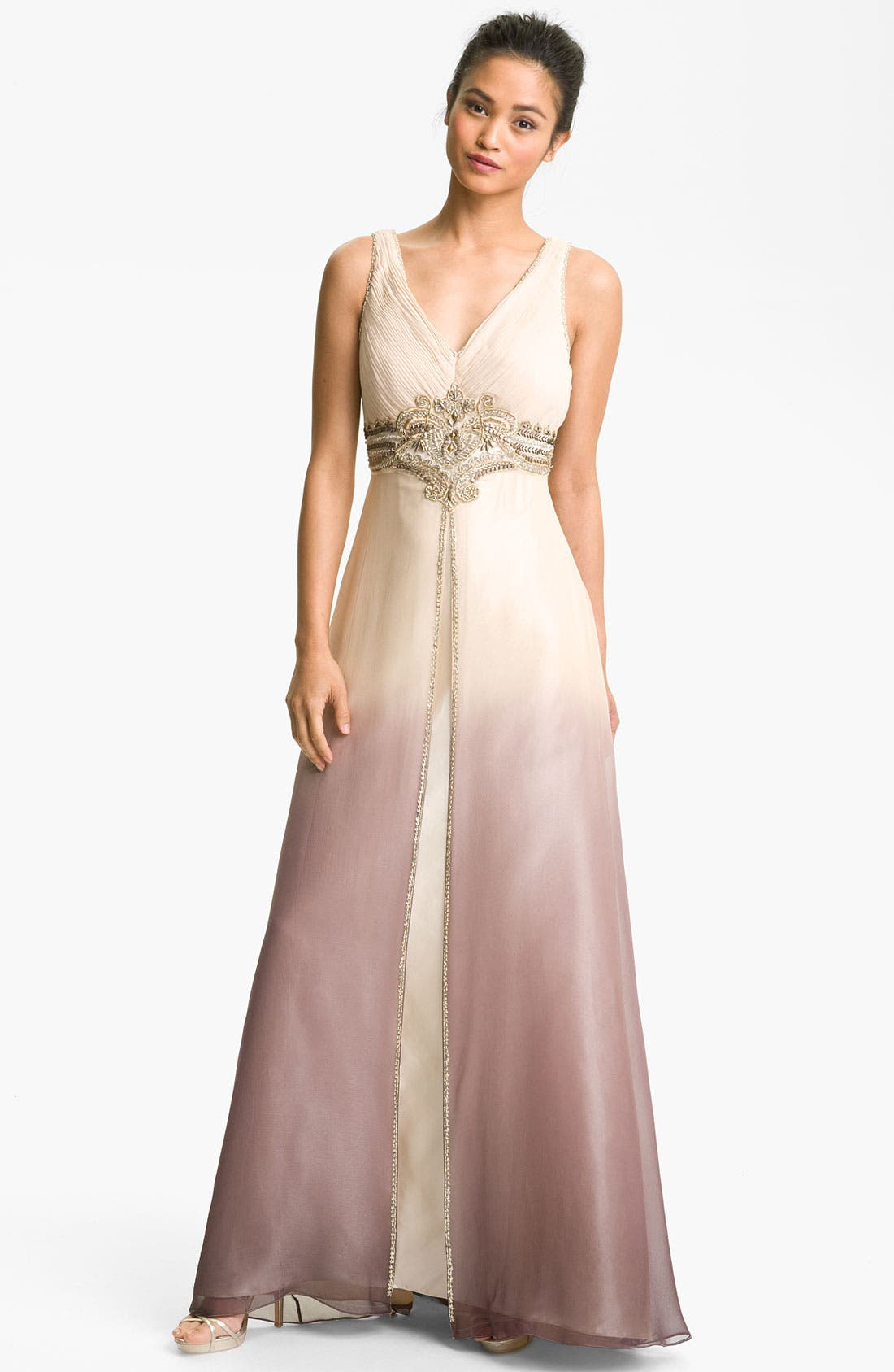 Alternate Image 1 Selected - Sue Wong Embellished Ombré Overlay Silk Gown