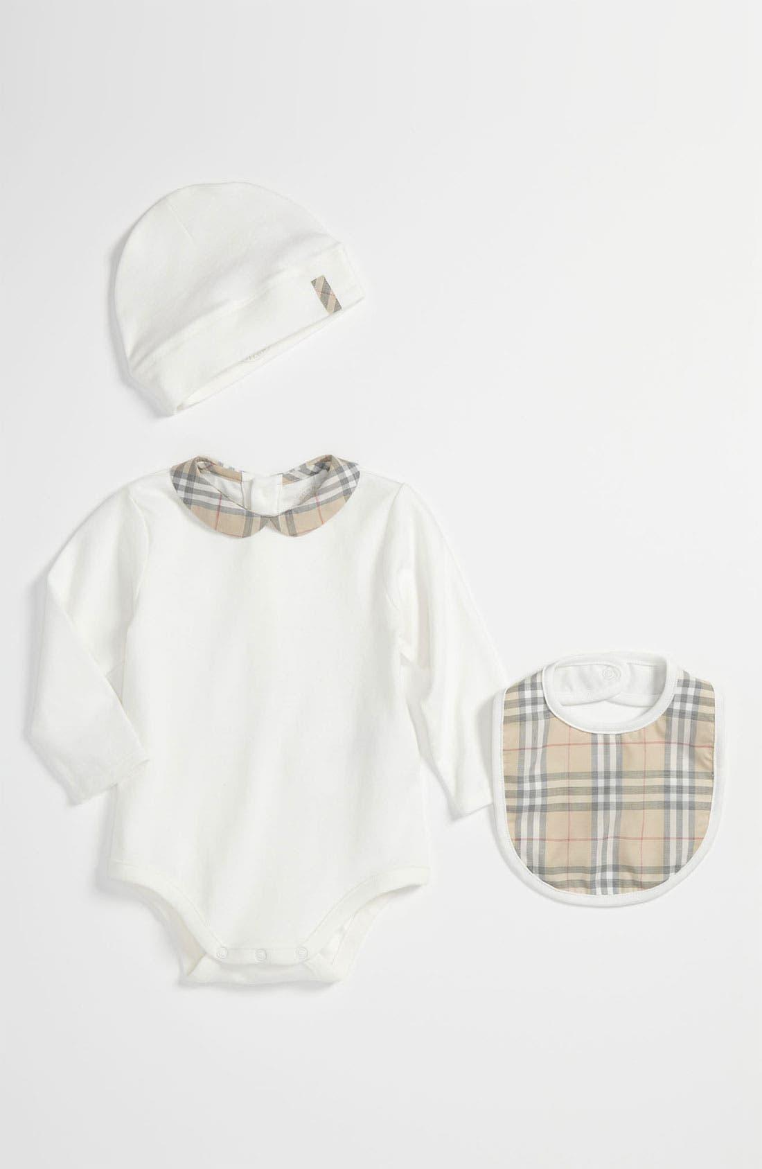 Alternate Image 1 Selected - Burberry Bodysuit, Hat & Bib Set (Baby)