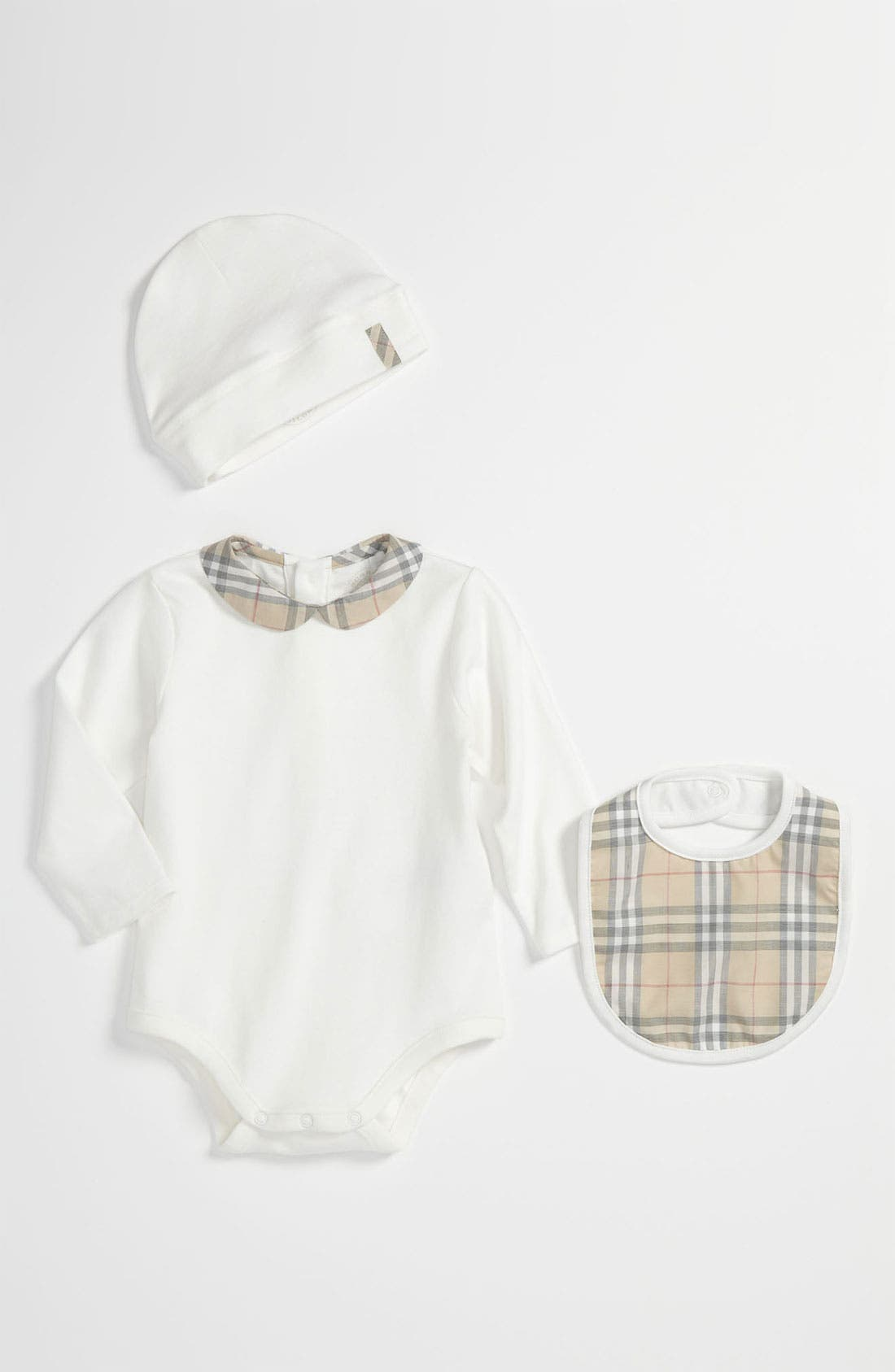 Main Image - Burberry Bodysuit, Hat & Bib Set (Baby)