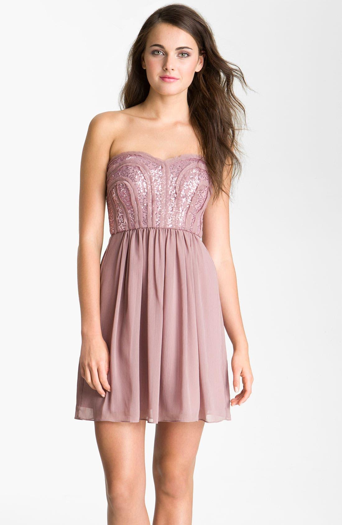 Main Image - Max & Cleo 'Monica' Sequin Bodice Sweetheart Chiffon Dress
