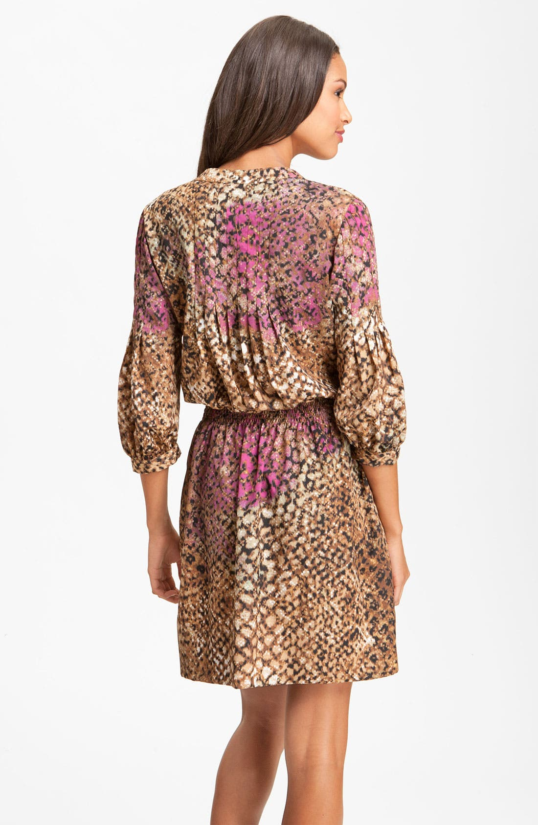 Alternate Image 2  - Eliza J Smocked Animal Print Crêpe de Chine Shirt Dress