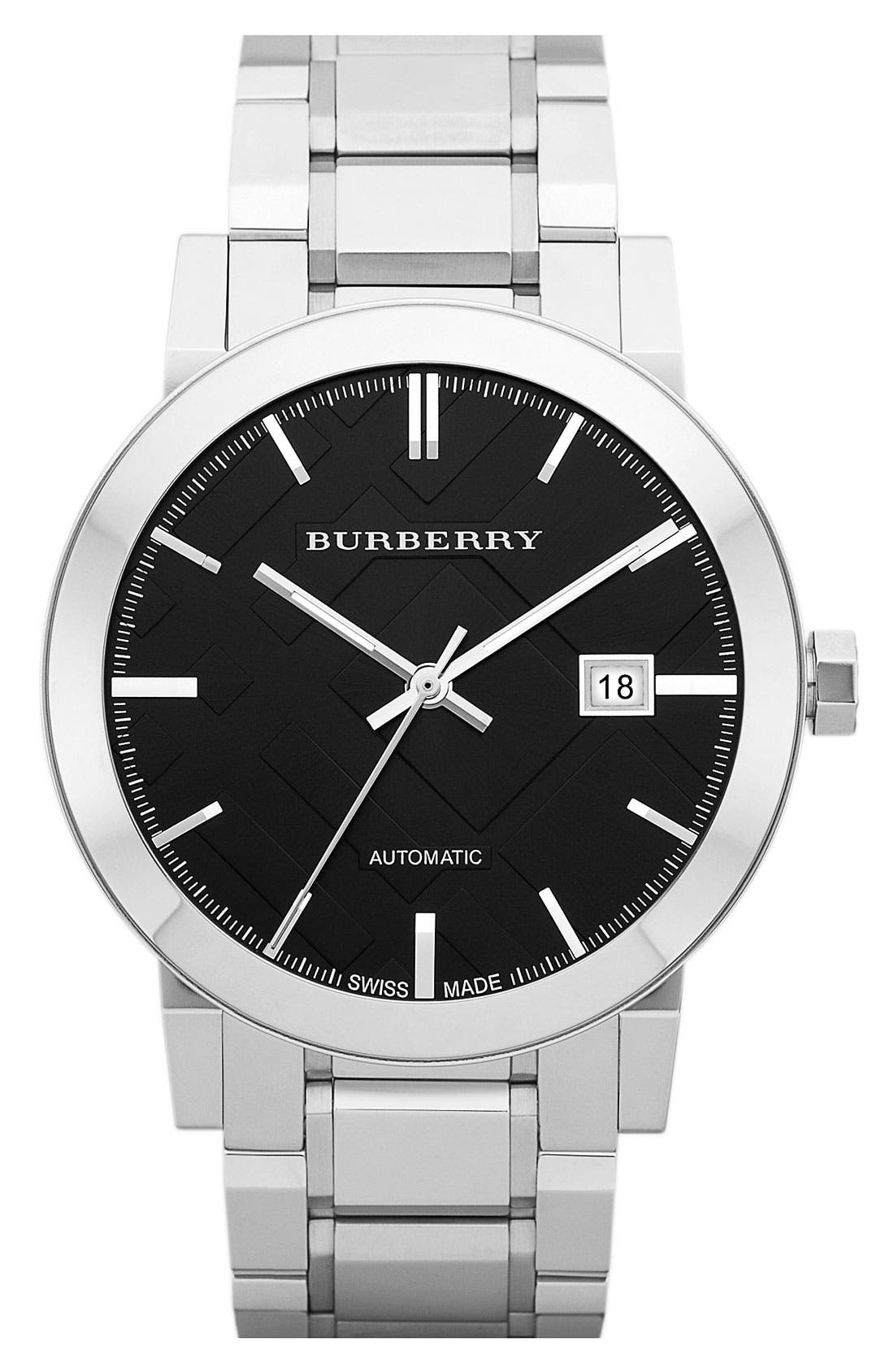 Alternate Image 1 Selected - Burberry Check Stamped Round Automatic Bracelet Watch, 42mm
