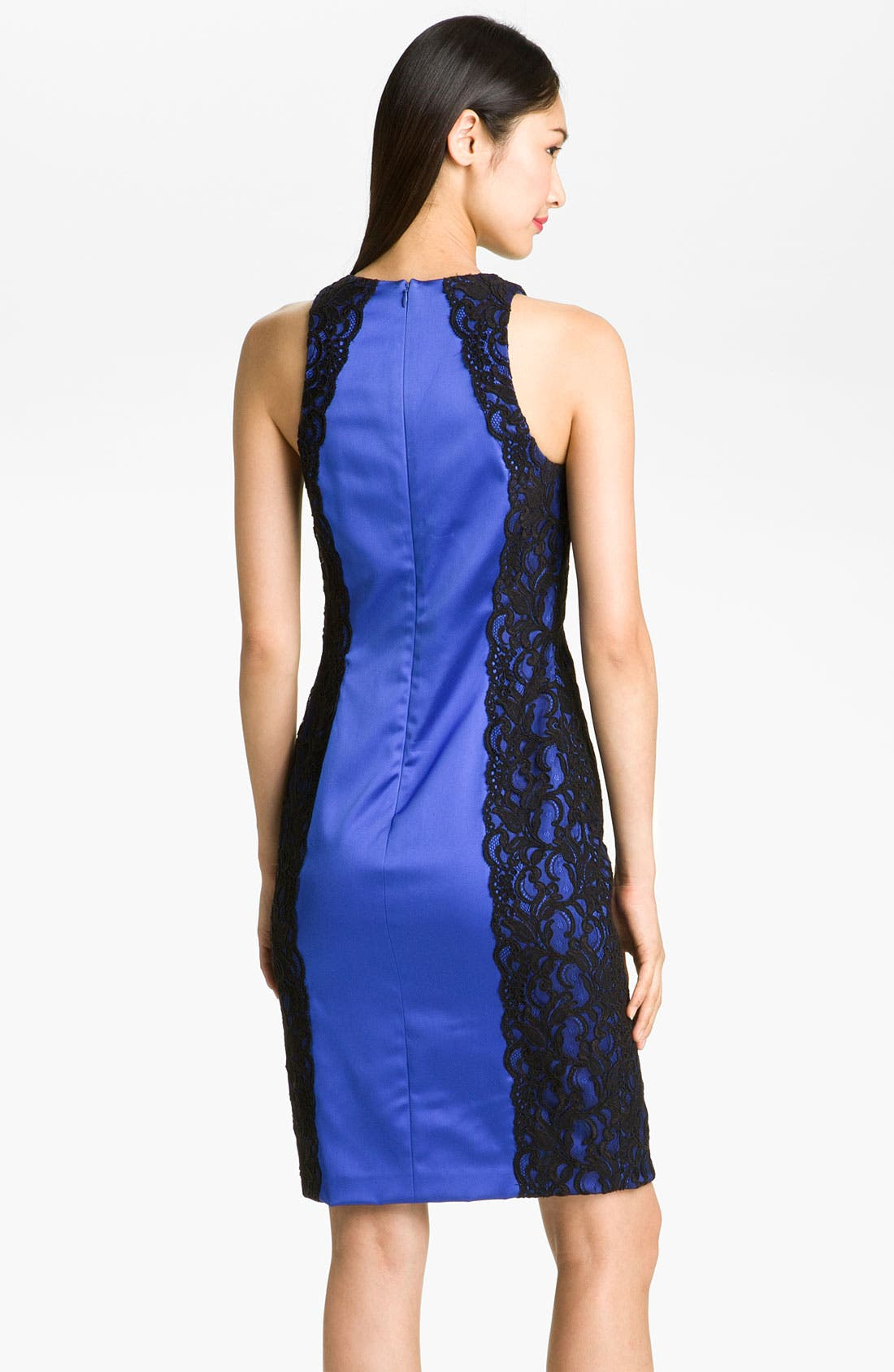 Alternate Image 2  - David Meister Lace & Satin Sheath Dress
