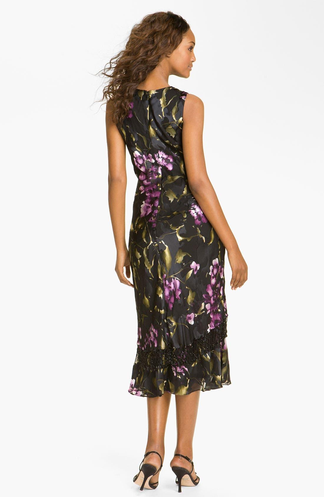 Alternate Image 2  - Alex Evenings Floral Print Mixed Media Dress & Fringed Shawl