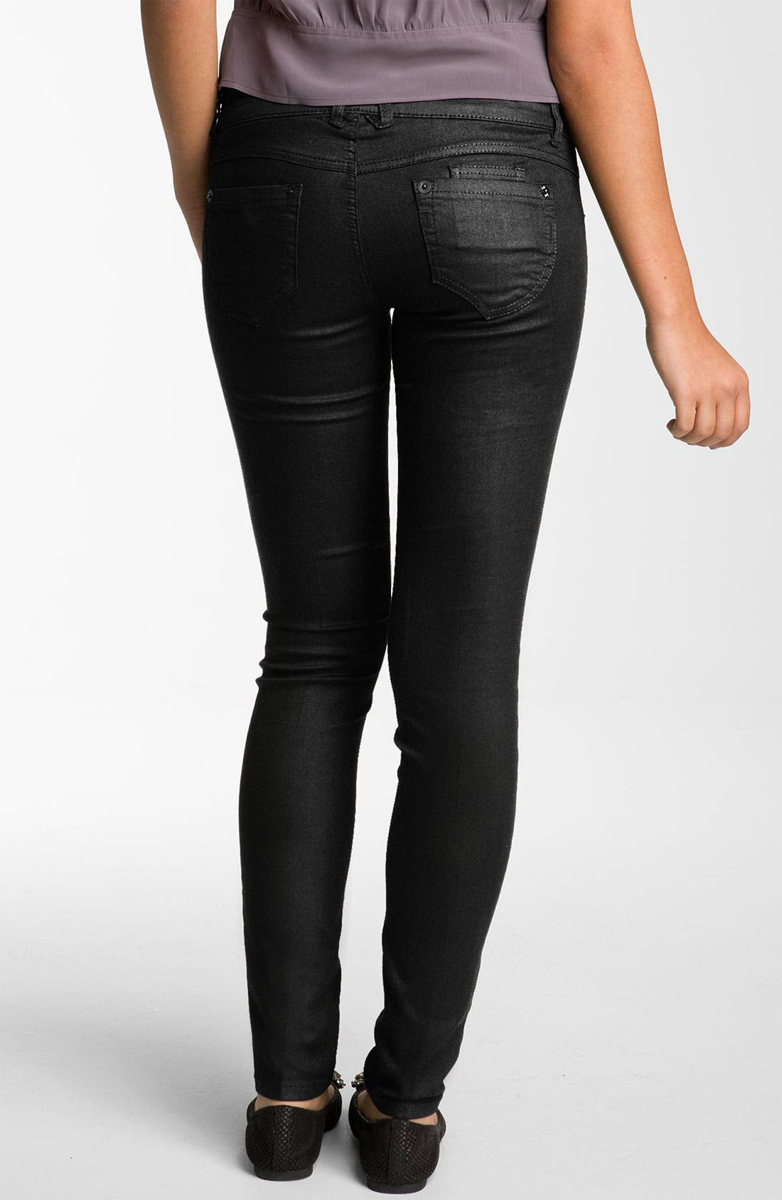 Alternate Image 1 Selected - Jolt Skinny Coated Jeans (Juniors)