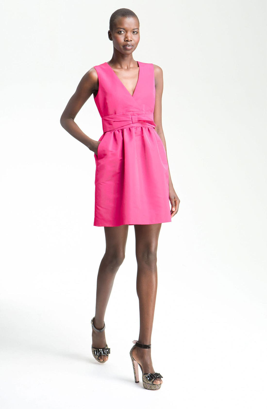 Alternate Image 1 Selected - RED Valentino Faille V-Neck Dress