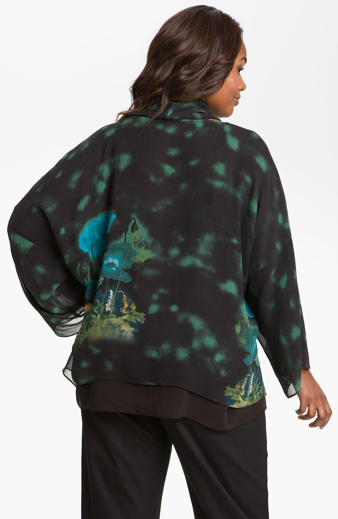 Alternate Image 2  - Citron Print Silk Tunic & Scarf (Plus)