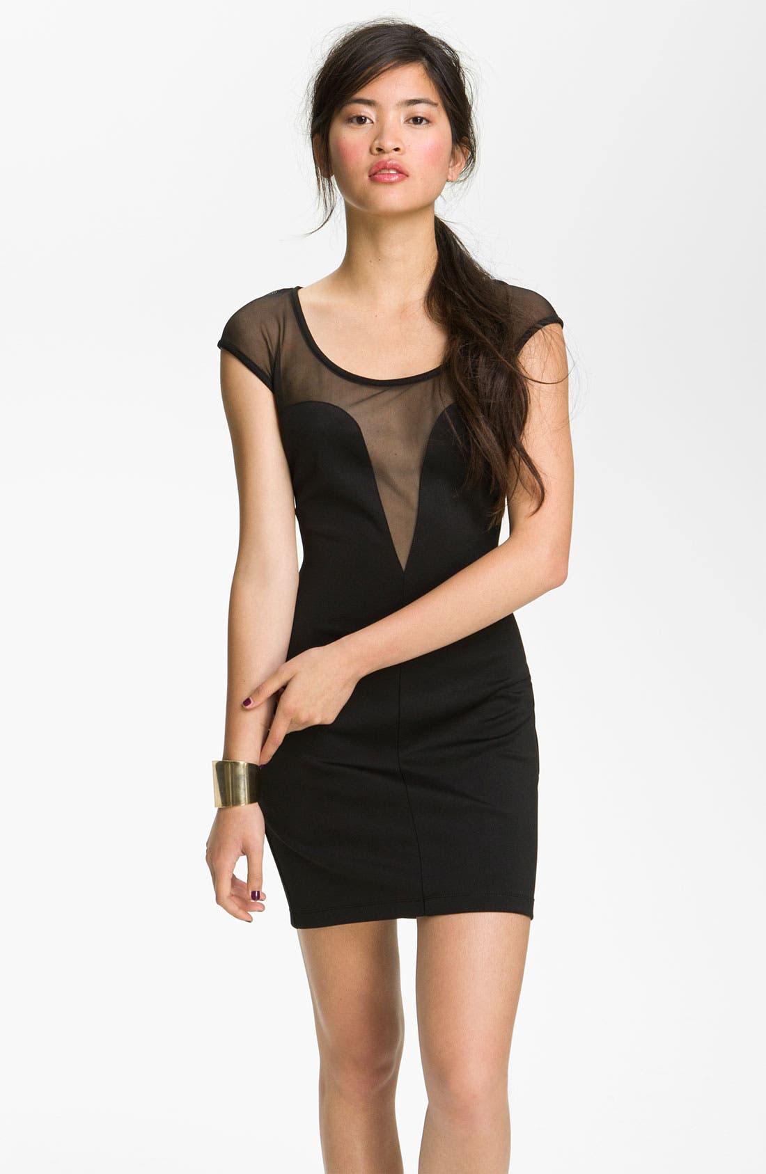 Main Image - Jump Apparel Mesh Body-Con Dress (Juniors)