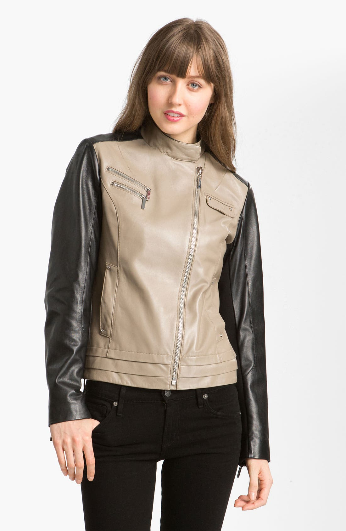 Alternate Image 1 Selected - Laundry by Shelli Segal Asymmetrical Zip Colorblock Leather Jacket
