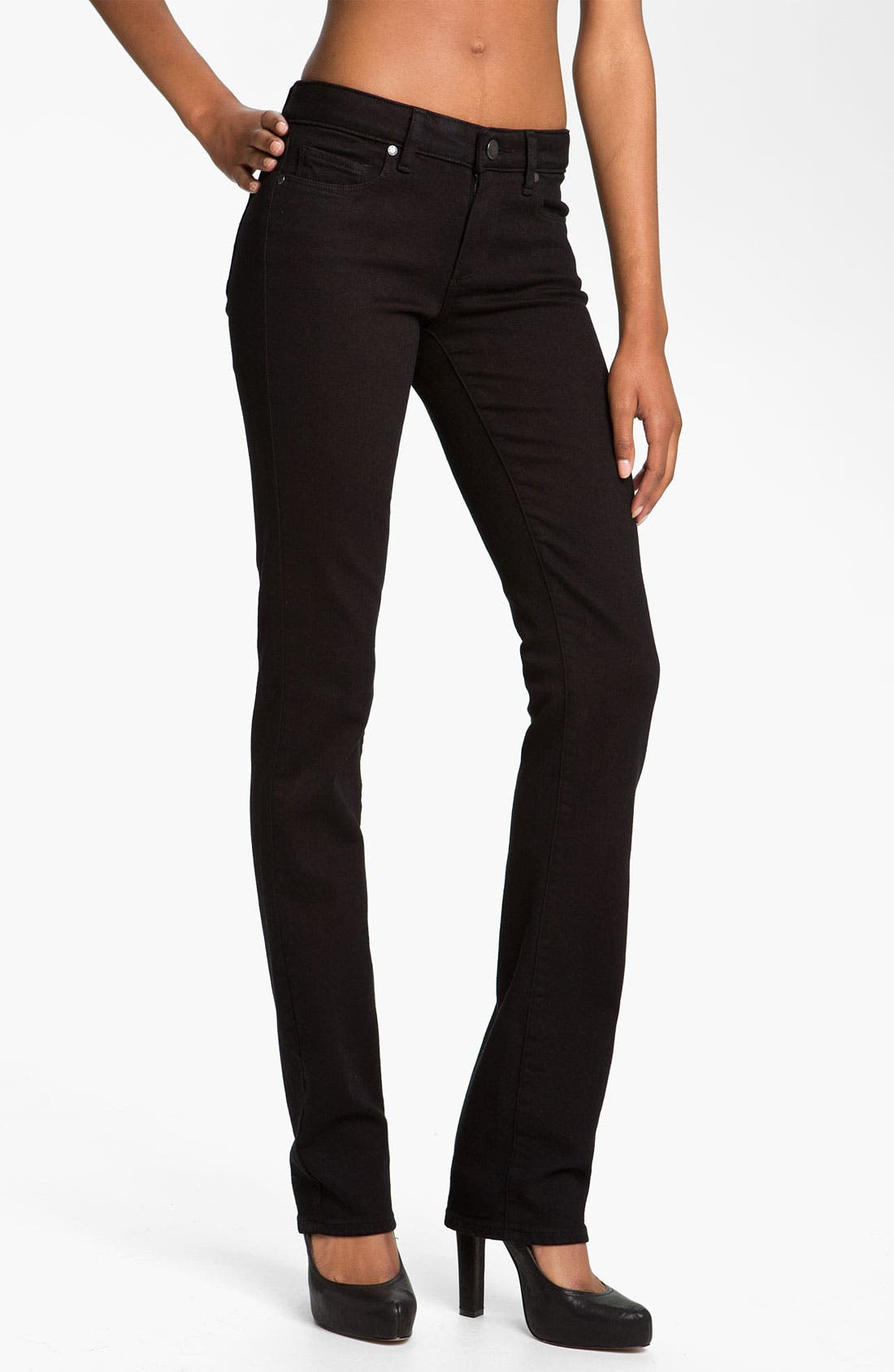 Alternate Image 1  - Paige Denim 'Skyline' Straight Leg Stretch Jeans (Black Ink)