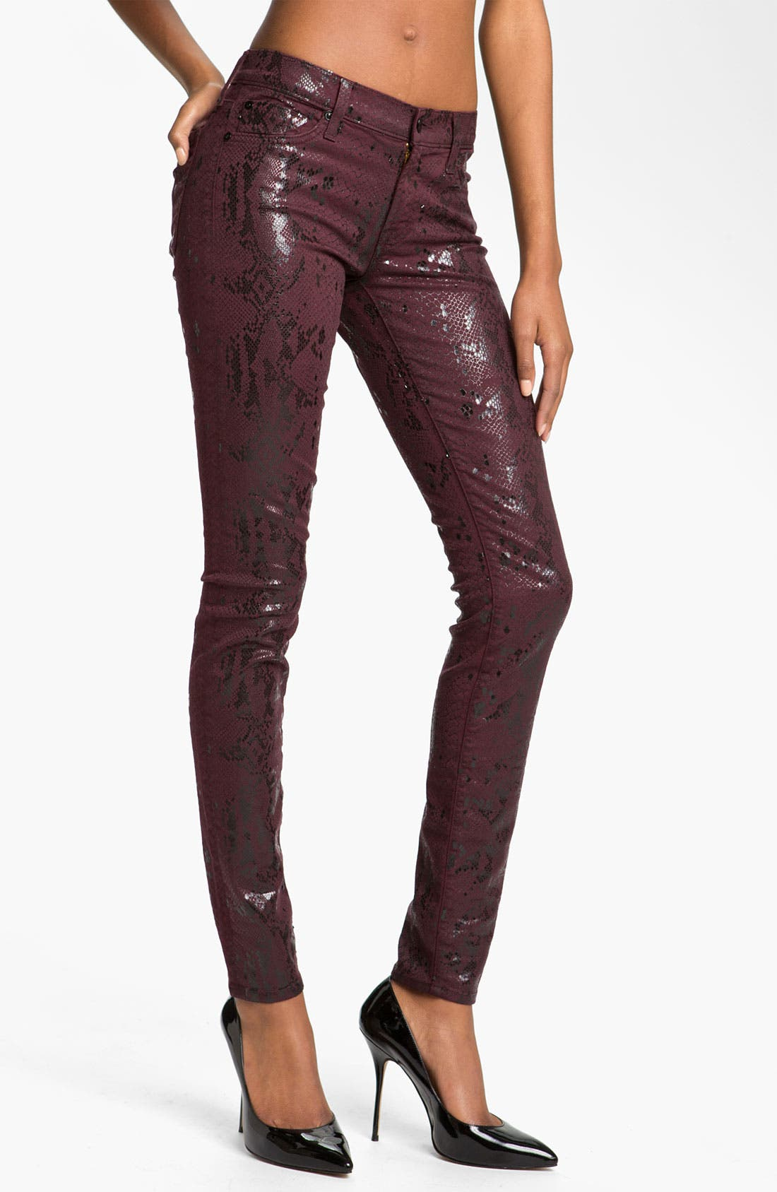 Main Image - 7 For All Mankind® 'The Skinny' Print Stretch Jeans (Burgundy Snake)