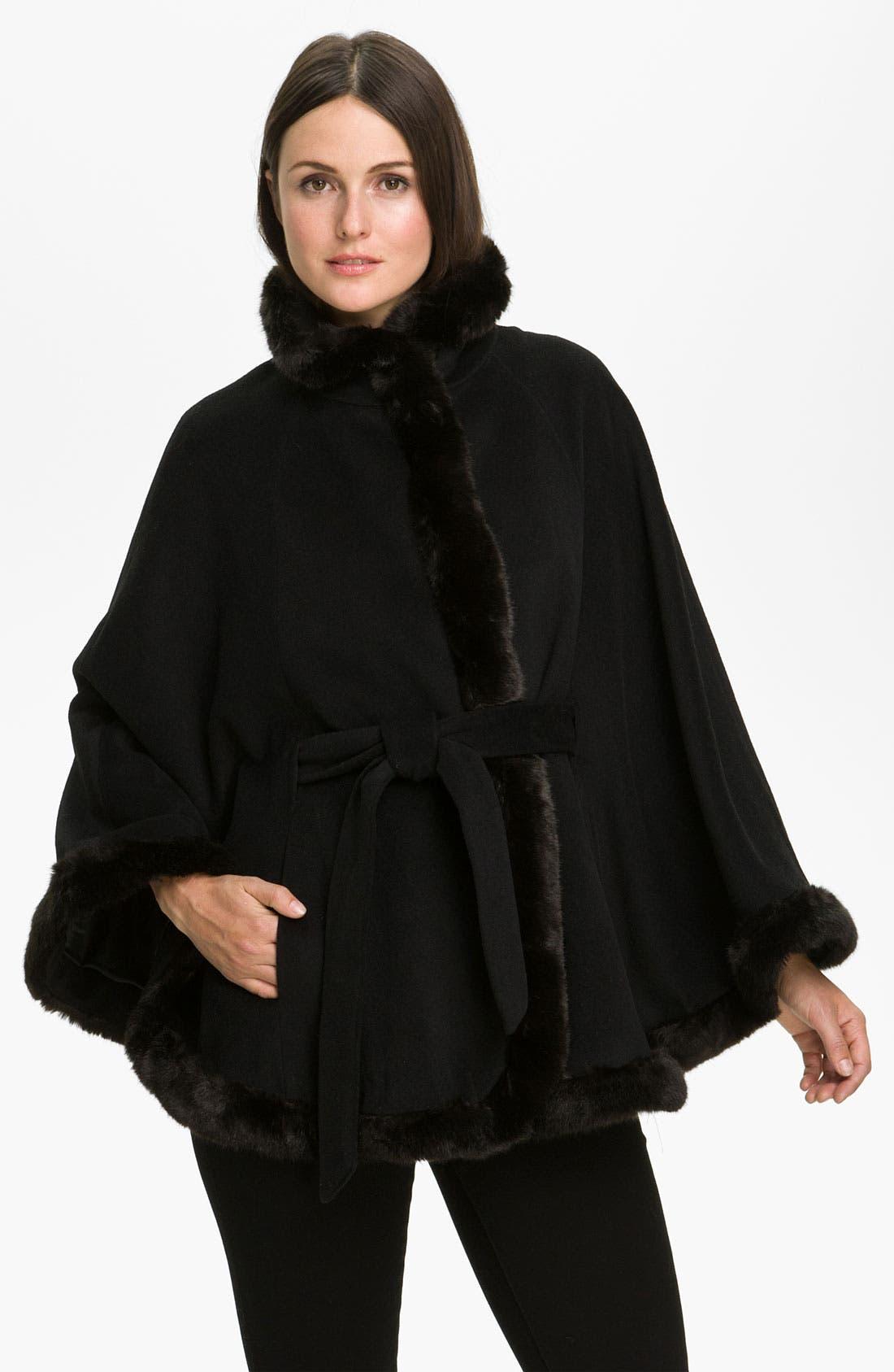 Alternate Image 1 Selected - Ellen Tracy Faux Fur Trimmed Cape