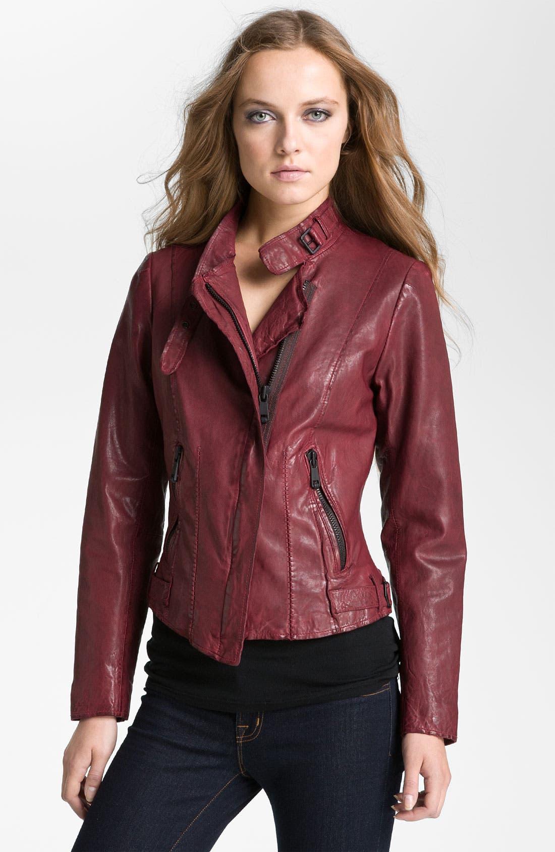 Main Image - Andrew Marc Asymmetrical Leather Moto Jacket