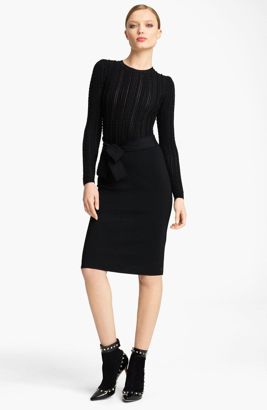 Main Image - Valentino Bow Detail Stretch Knit Dress