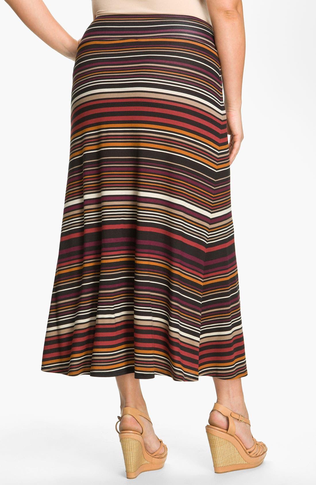 Alternate Image 2  - Karen Kane Stripe Maxi Skirt (Plus)