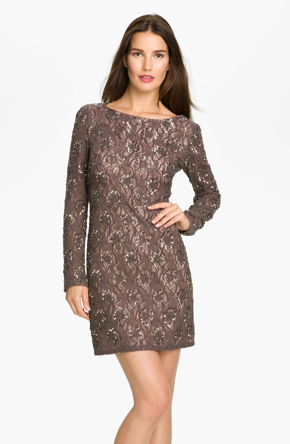 Main Image - Aidan Mattox V-Back Embellished Lace Sheath Dress