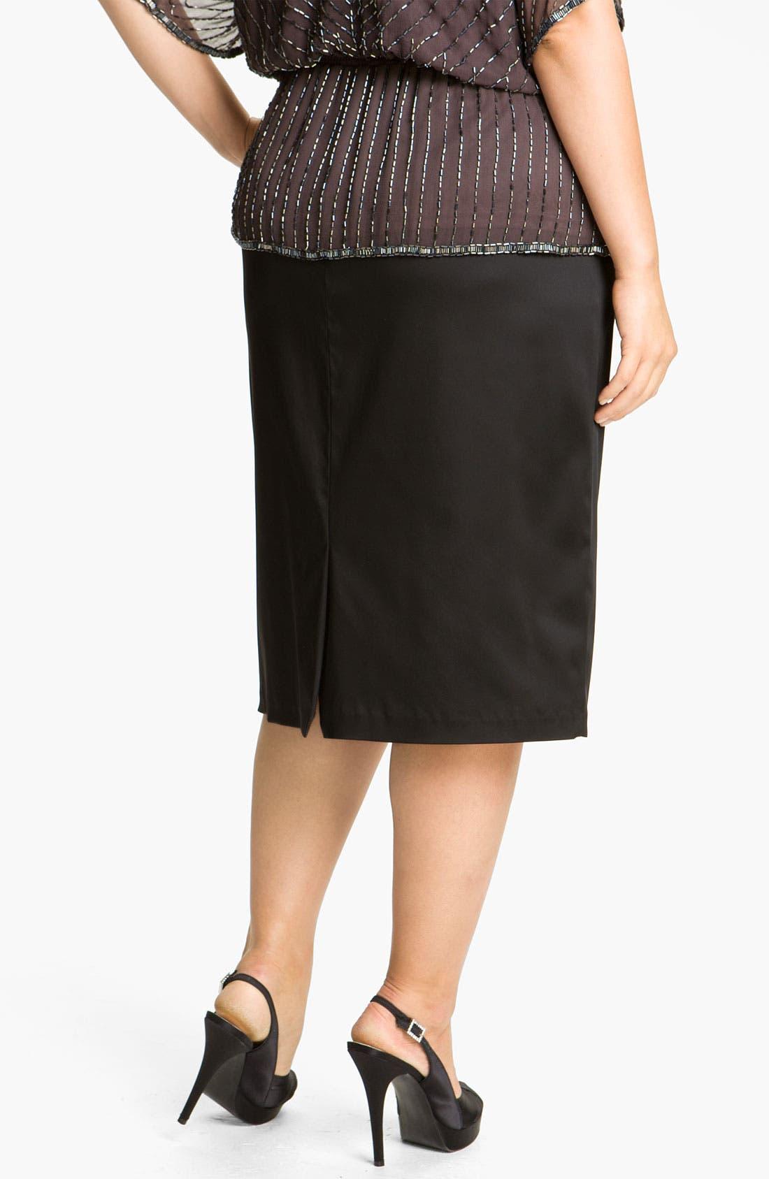 Alternate Image 2  - Alex Evenings Satin Pencil Skirt (Plus)